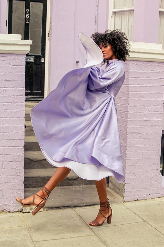 Lavender and fuchsia wrap dress