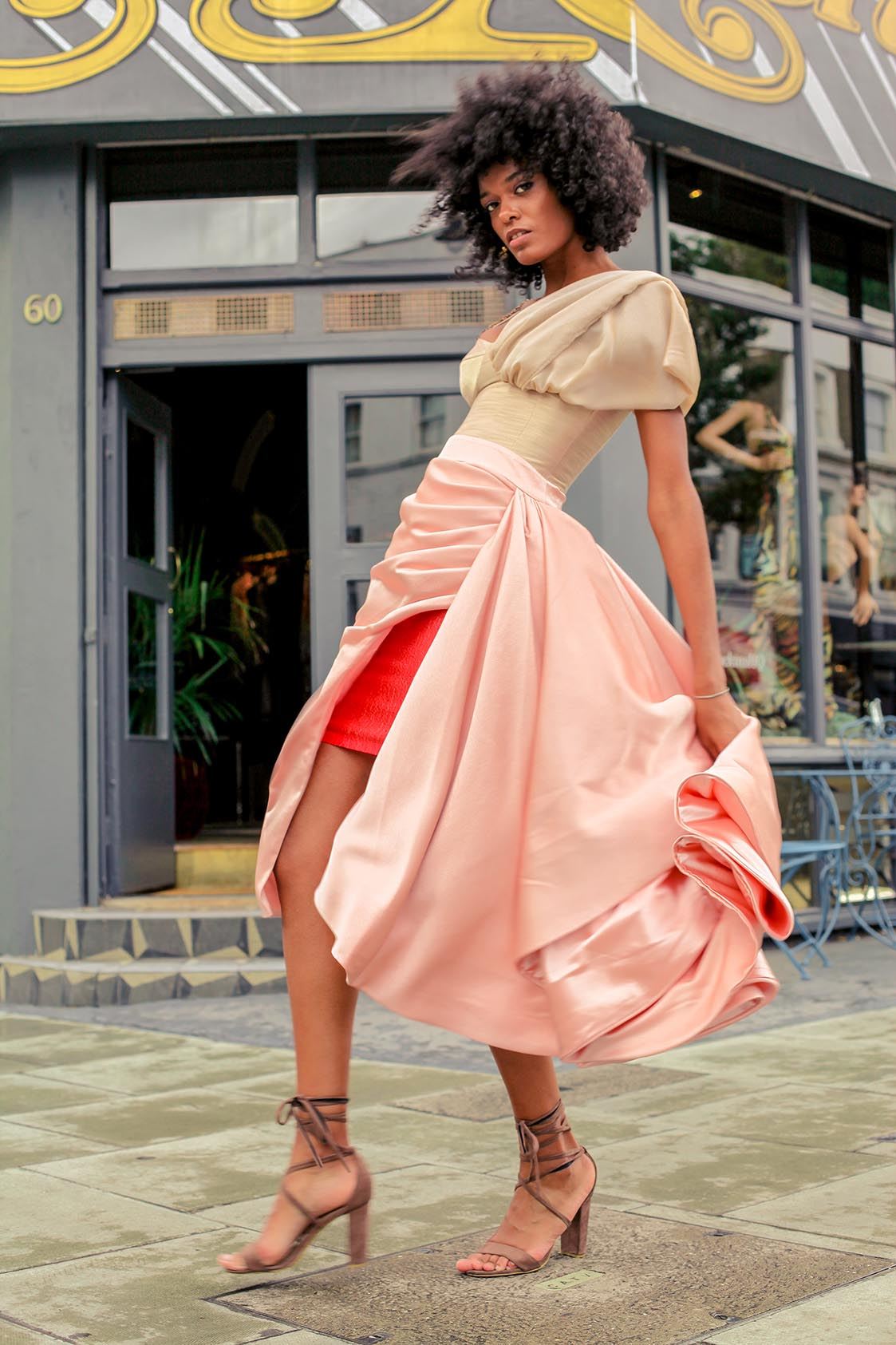 Peach and orange wrap skirt