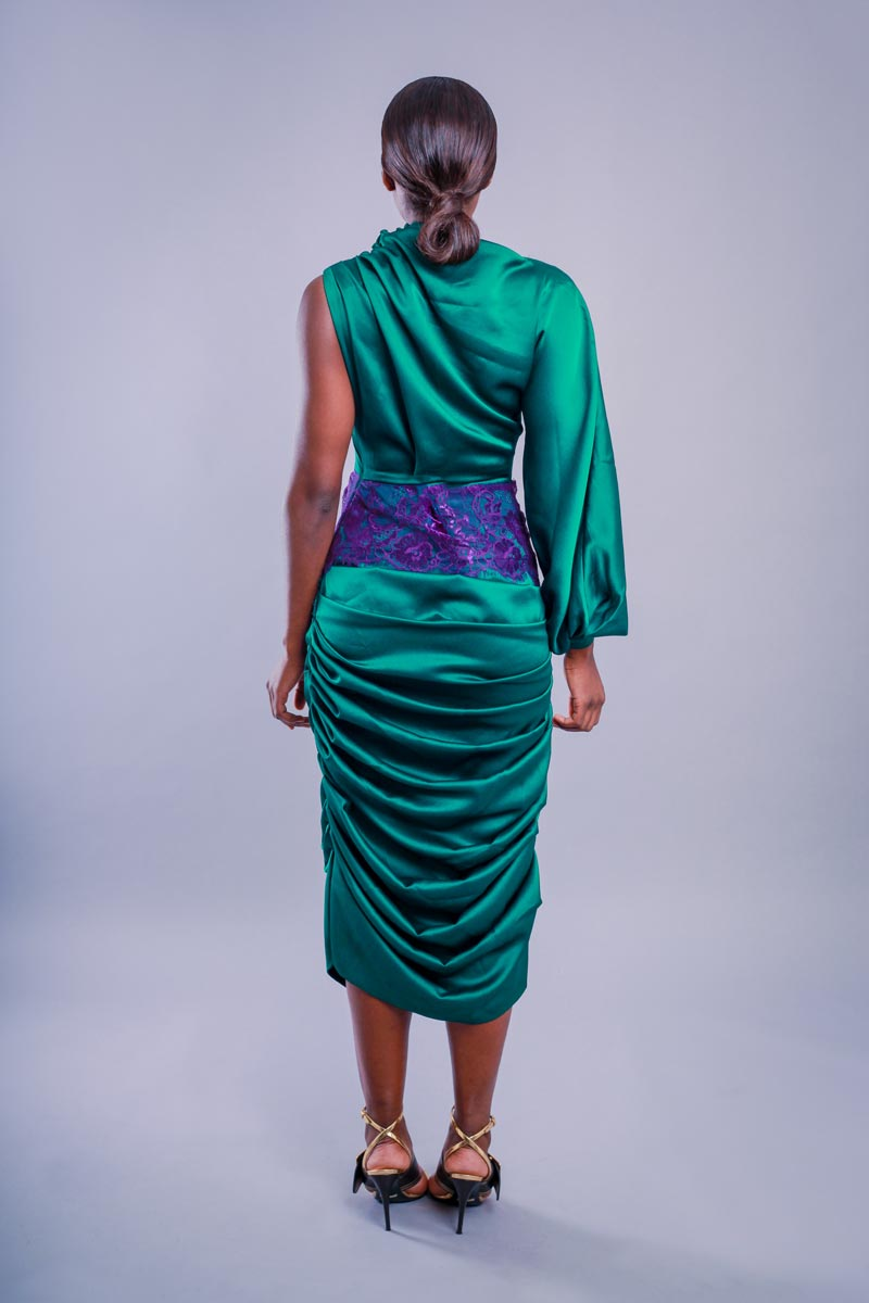 Green Drape / Purple lace dress