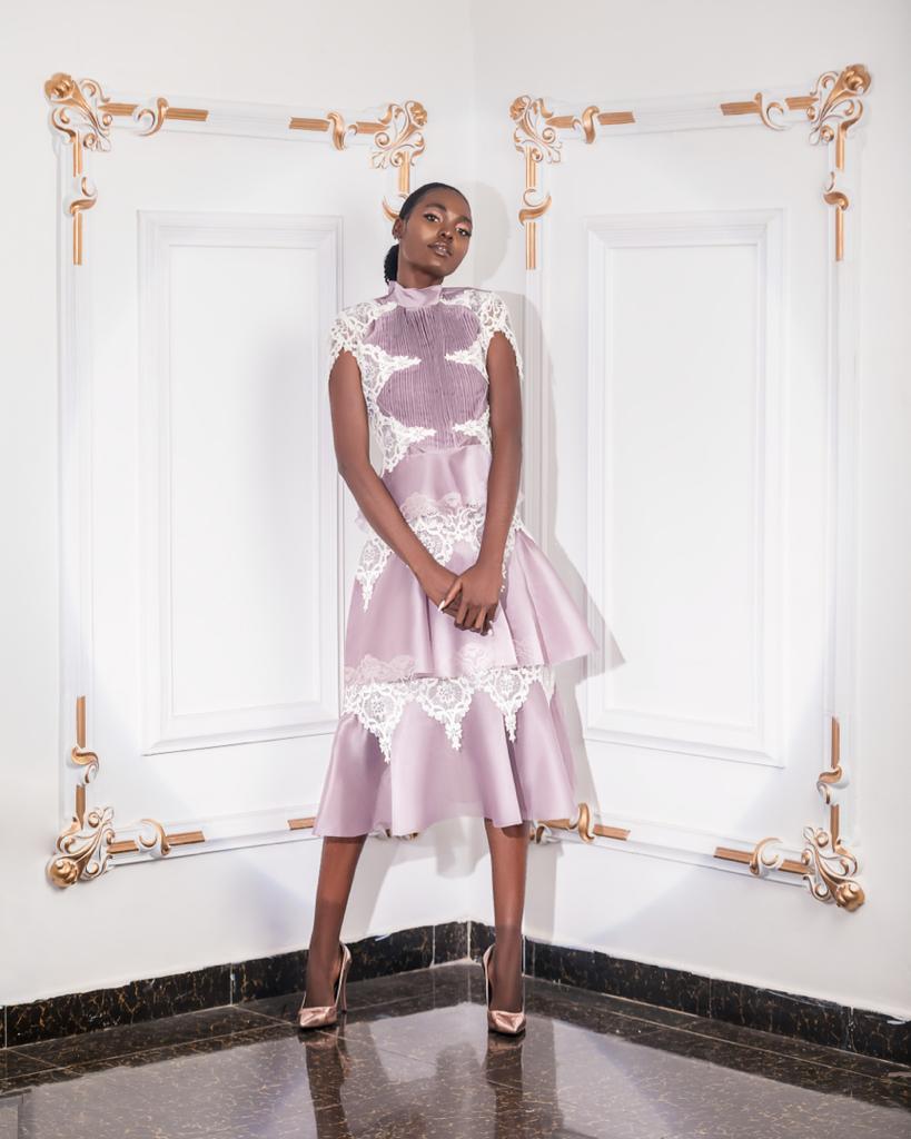 Mauve organza two step flayed dress