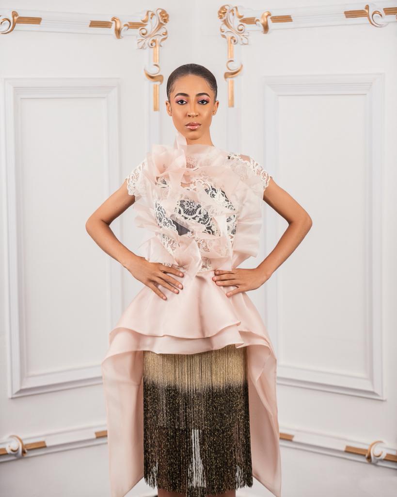 Tan Organza lace fringed Dress