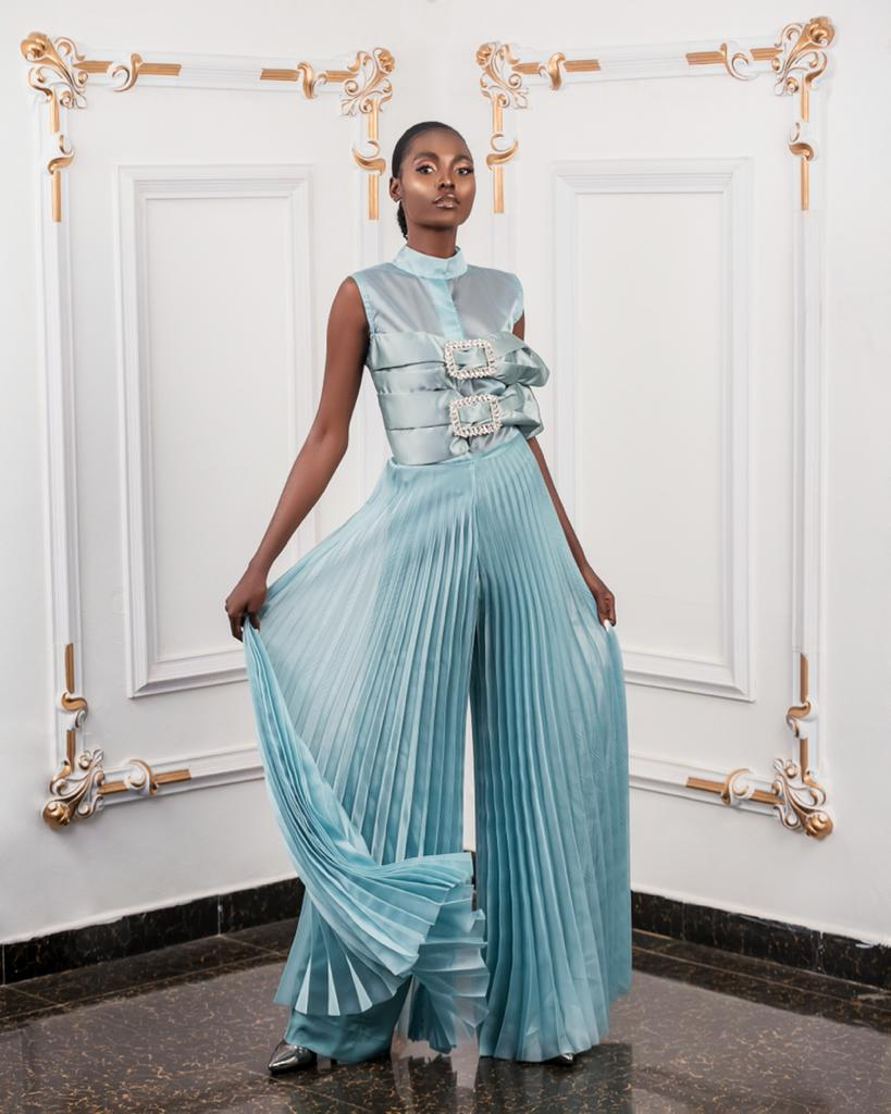 Mint Organza Pleated Jumpsuit with Bow buckle
