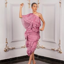 Pink Pleated one Off-shoulder Dress